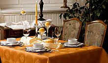 Tischdecke oval mit Bleiband im Saum, Teflonbeschichtet, pflegeleicht in Designs:Iris, sekt-champagner Maß: 100x190