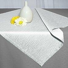 Tischdecke PALERMO weiß / 80x80 cm / Aqua Muster in leichter Baumwollmischung