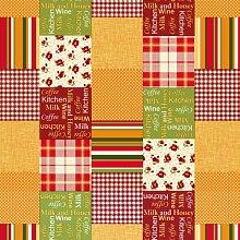 Tischdecke, Patchwork-Design, rechteckig, PVC, abwischbar, 140 x 200°cm, Rot / Orange