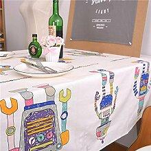 Tischdecke PersöNlichkeit Cartoon Home Hotel Restaurant Dekoration Kaffeetisch Tuch Serviette Baumwolle Flachs , white , 140*200cm