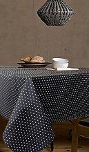 Tischdecke Punkte-Anti Flecken Modell polka- Qualität 50% Baumwolle 50% Polyester, resinado und mit DuPont-Teflon® 130x200 Schwarz