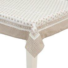 Tischdecke PUNKTE weiß beige 150x250cm Clayre &