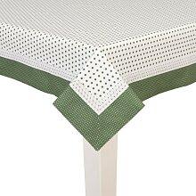 Tischdecke PUNKTE weiß mit grünen Punkten