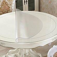 Tischdecke pvc folie Tischfolie Schutzfolie abwaschbar, Kratzfest, wasserdicht rund (80cm Durchmesser, Nicht Transparent)