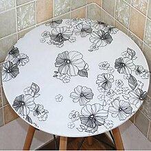 Tischdecke PVC runde Tisch Tisch Stoff wasserdicht und Öl frei waschen runde Tisch Mats Couchtisch Matte Kunststoff ( Farbe : A5 , größe : 80cm round )