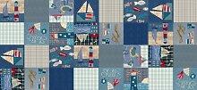 Tischdecke, PVC/Vinyl, oval, 140x 300cm blau Patchwork Boote/Nautical