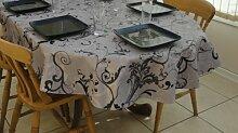 Tischdecke, PVC/Vinyl, oval, 140x 300cm grau Fleur 10–12Sitzplätzen