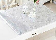 Tischdecke, PVC wasserdicht Anti-hot keine Notwendigkeit zu waschen weichen Glas Tisch Mats Couchtisch transparente Kristallplatte 1mm Dicke ( Farbe : #3 , größe : 60*60cm )