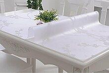 Tischdecke PVC-weiches Glas-Tabellen-Tuch wasserdichtes Anti-heißes Öl - freies Scrub Tisch-Matten-Kaffeetisch-Auflage-Tabellen-Tuch-Kristall-Platte ( Farbe : B , größe : 80*120cm )