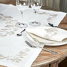 Tischdecke, quadratisch, mit Stickerei,