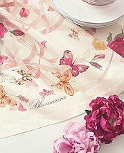 Tischdecke Raffaella Blumarine Leinen Schmetterling türkis