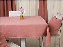 Tischdecke, Ramie Tuch Home Hotel Europäische Stil Solid Color Rechteck Royal Pink ( größe : 135x135cm )
