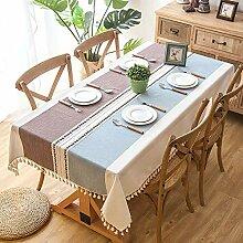 Tischdecke, Rechteck Baumwolle Leinen Tischdecke