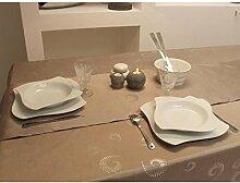 Tischdecke rechteckig SPIRALES taupe