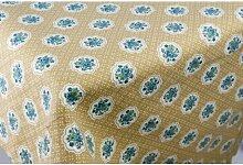 Tischdecke Rechteckig X12Gelb Ocker Blumen 270x 180+ 12Servietten Patchwork
