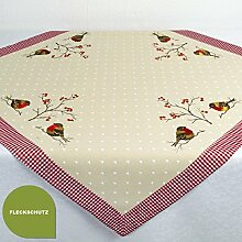 Tischdecke ROTKEHLCHEN / 85x85 cm / moderne, bestickte Mitteldecke für Küche und Garten