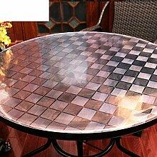 Tischdecke Roundtable] Weiche Glas Runde tischdecke Transparent Frosted Untersetzer Wasserdicht] Teetisch matten Einweg Pvc-kristall-platine-C Durchmesser100cm(39inch)