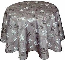 Tischdecke rund 150 cm Pflegeleicht Hellgrau Polyester Tafeltuch Motivdruck BLÄTTER anthrazit Herbst (Tischtuch rund 150 cm)