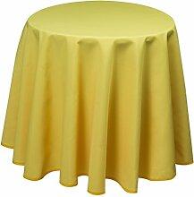 Tischdecke, rund 160 cm, Panama-PE, Uni Gelb,