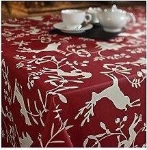Tischdecke rund, fleckabweisend, wasserabweisend 160cm Berg rot von Fleur de Soleil–Beschichtete Baumwolle–ohne Lösungsmittel–ohne Weichmacher–100% Französisches Produk