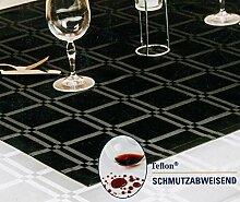 Tischdecke schmutzabweisend - Tafeldecke - Jacquard Karo - Farbe: Schwarz - Größe: 140 x 170 cm - von Brandsseller
