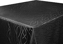 Tischdecke schwarz 160x300 cm eckig in glanzvoller Streifenoptik, eckig - Größe, Farbe & Form wählbar (Rund Eckig Oval)