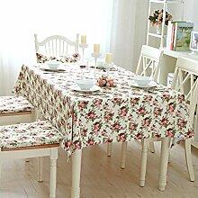 Tischdecke Stoff Europäische Stil Garten Gitter Baumwolle Leinen Leinwand einfache Tischdecke 140 * 220cm , #5 , 140*240cm