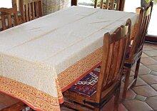 Tischdecke, Tafeltuch Blockdruck in 3 Größen / Tischläufer und Tischdecken - Größe: 150*190 cm