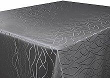 Tischdecke taupe Oval 130x220 in glanzvoller Streifenoptik, eckig - Größe, Farbe & Form wählbar (Rund Eckig Oval)