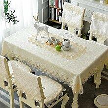 Tischdecke Tischdecke,Kissen Und Bezüge Für Die Stühle,Couchtisch Tuch Pastoral Spitze Tuch-A 85x85cm(33x33inch)