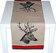 Tischdecke TISCHLÄUFER braun rustikales LANDHAUS Weihnachten HIRSCH mit Glitzerstein rot (Tischläufer 35x90 cm)