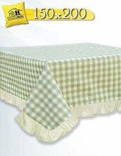 Tischdecke Tischtuch Tafeltuch Landhausstil Country Chic - Rüsche Volant / Kariert - 150x200 - Karo Beige / Grün - 100% Baumwolle
