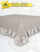 Tischdecke Tischtuch Tafeltuch mit Rüsche Volant Landhaus Shabby Chic - Geometrisches Design / Blumen - 130x180 - Weiß / Taupe - 100% Baumwolle