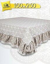 Tischdecke Tischtuch Tafeltuch mit Rüsche Volant Landhaus Shabby Chic - Geometrisches Design / Blumen - 160x250 - Weiß / Taupe - 100% Baumwolle