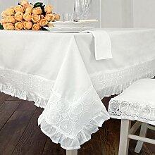 Tischdecke Tischtuch Tafeltuch mit Spitze Landhaus