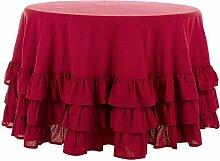 Tischdecke Tischtuch Tafeltuch Rund mit Rüsche