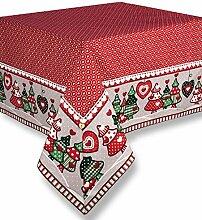 Tischdecke Tischtuch Tafeltuch Weihnachten Landhausstil Country Chic - Herzen / Tannen - 170x260 - Weiß / Rot - 100% Baumwolle