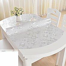 Tischdecke Transparente tabelle mat Pvc weichglas,Kristall-teller Stretch],Falten],Ovale tischdecke Wasserdicht],Burn-proof,Öl-beweis,Einweg-C 85x135cm(33x53inch)