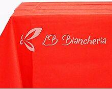Tischdecke Uni Rot Uni aus Draht, Jacquard, Made in Italy–Tischdecke Weihnachten–cm 140x 280