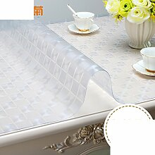 Tischdecke Verdickt,Pvc weichglas,Tischtuch Wasserdicht],Burn-proof,Einweg,Transparente tabelle mat Teetisch matten Kristall-teller-C 90x140cm(35x55inch)
