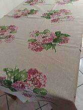Tischdecke verschiedene Größen Typ Hortensie in zwei Farben Blau und Pink–Dekorieren Sie Ihr Tisch mit Eleganz und Stil misura cm. 140x180 Rosa