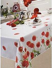 Tischdecke, Wachstuch, Ø 140CM Poppy Red Poppy