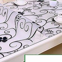 Tischdecke/wasserdicht pvc tischdecke/burn-proof,weiche,glas,kunststoff tischdecken/couchtisch tischmatte/transparent,frosted crystal platte-G 90x150cm(35x59inch)