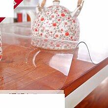 Tischdecke Weiche Glas Tischtuch Wasserdicht] Pvc Transparent Verdicken sie Kunststoff Untersetzer Frosted Teetisch matten Tischtuch Kristall-teller-A 90x90cm(35x35inch)