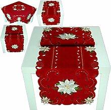 Tischdecke WEIHNACHTEN 40 x 110 cm dunkelrot Weihnachtsstern weiß gestickt Leinenoptik (Tischläufer 40x110 cm)