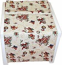 Tischdecke WEIHNACHTEN 50x150 cm Gobelin Beige Boucle Tischläufer Läufer Weihnachtsdecke Hossner (50 x 150 cm)