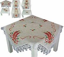 Tischdecke WEIHNACHTEN 85 x 85 cm rustikal Natur Beige Spitze Kerzen Rot Weihnachtsdecke (Mitteldecke 85x85 cm)