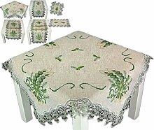 Tischdecke WEIHNACHTEN 85 x 85 cm rustikal Natur Beige Spitze Kerzen Grün Weihnachtsdecke (Mitteldecke 85x85 cm)