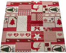 Tischdecke Weihnachten Rot 85x85 Weihnachtsmelodie