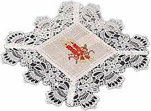 Tischdecke Weihnachten Rustikal Natur Beige Spitze